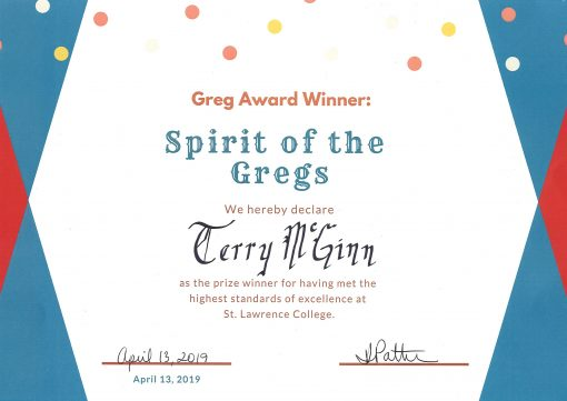 Greg Awards, Spirit of the Gregs certificate