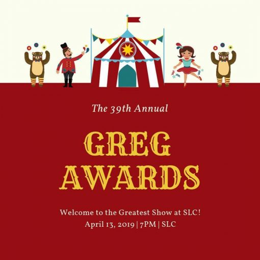 Greg Awards poster.
